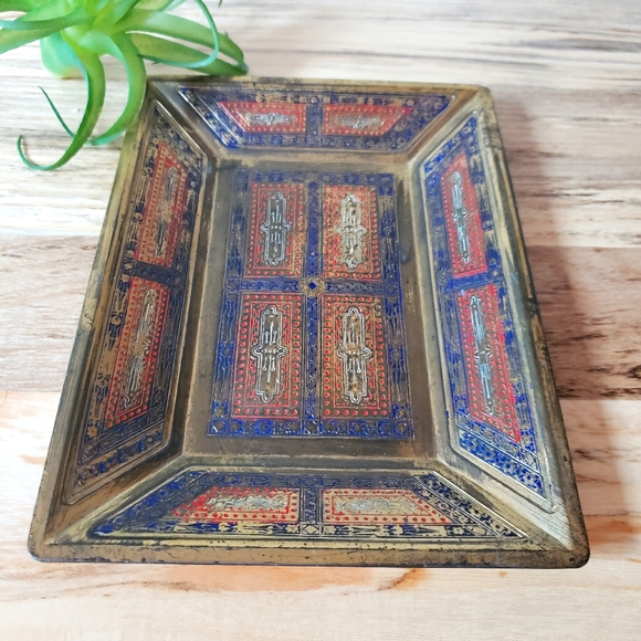Vintage Japanese Brass Painted Boho Tray